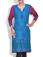 Blue And Pink Rayon Printed Kurti - By