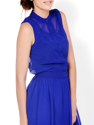 Electric Blue Closed Neck Sheer Shirt