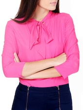 Hot Pink Neck Tie Detail Top - Pera Doce