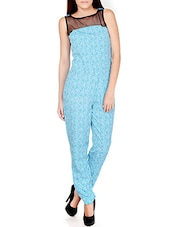 Printed Blue Polyester Jumpsuit With Sheer Yoke - Pera Doce