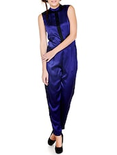 Navy Blue Shimmery Closed Neck Jumpsuit - Pera Doce