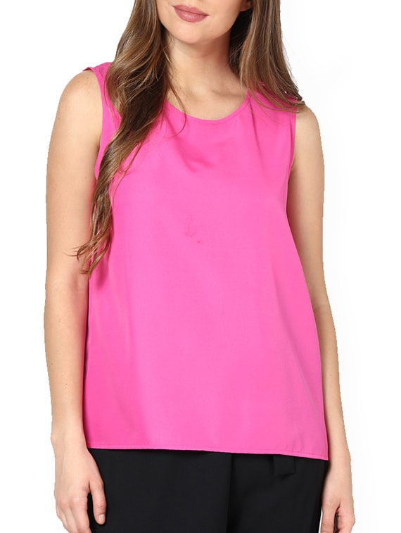 Hot Pink Back Gather Top - Pera Doce