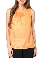Peach Pleated Neckline Top - Pera Doce