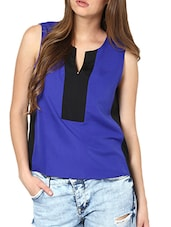 Blue And Black Colour Block Top - Pera Doce