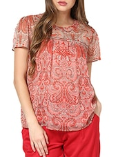 Printed Pleats With Gather Top - Pera Doce