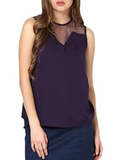 Solid Purple Top With Sheer Yoke - Pera Doce