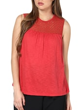 Hot Red Lace Yoke Top - Pera Doce