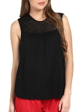 Chic Black Lace Yoke Top - Pera Doce