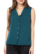Chic Teal Shirt With Gold Buttons - Pera Doce