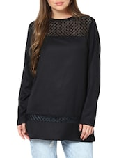 Lace Panel Black Top With Full Sleeves - Pera Doce