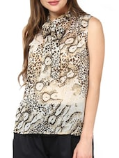 Animal Print Bow Tie Up Top - Pera Doce