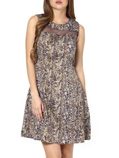 Fit-and-Flare Printed Dress With Sheer Detail - Pera Doce