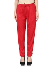 Chic Red Drawstring Pajama Pants - Pera Doce
