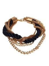 Gold Chain And Navy Blue Braided Bracelet - Blinglane