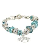 Crystal Embellished Beaded Silver Charm Bracelet - Blinglane