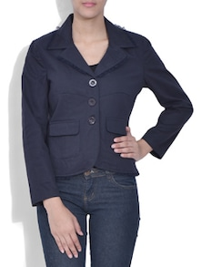 solid navy blue cotton twill jacket