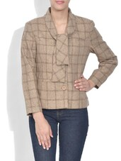 Beige Checkered Poly Cotton Coat - By