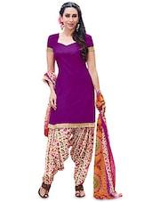 Purple Cotton Printed Semi-Stitched Suit Set - By
