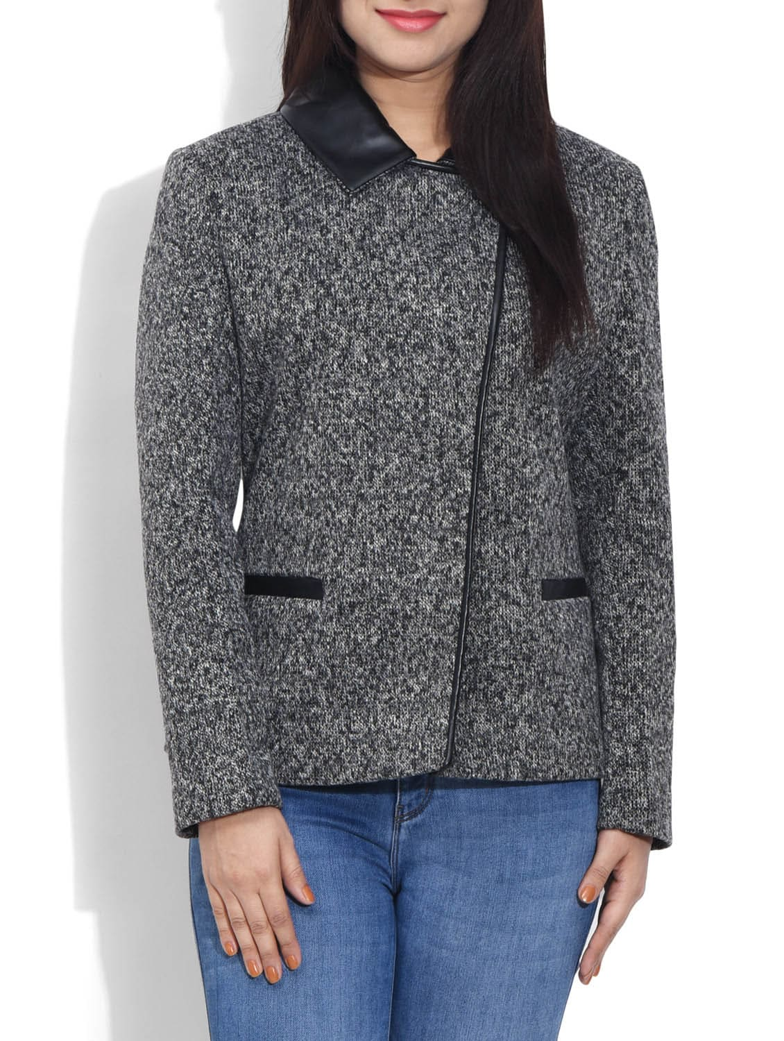 Grey Woollen Printed Coat - By