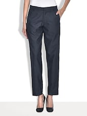 Charcoal Grey Poly Cotton Straight Fit Formal Trousers - By