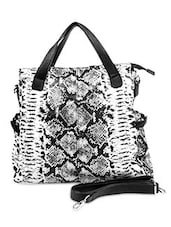 Black And White Faux Leather Printed Hand Bag - By