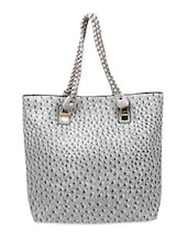 Grey Faux Leather Hand Bag - By