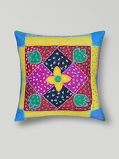 Multicolour Hand Worked Cotton Cushion Cover - By