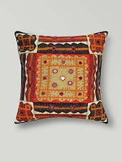 Multicolour Mirror Worked Cotton Cushion Cover - By