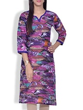 Purple Feather Printed Cotton Kurta - By