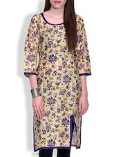 Purple Beige Floral Printed Cotton Kurta - By