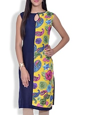 Navy Blue Floral And Paisley Printed Cotton Kurta - By