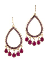 Gold Plated Drops Quartz Ethnic Earrings - Blinglane