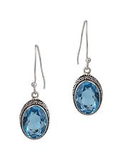 Antique Silver Earrings With Blue Drop - Blinglane