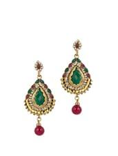 Gold Plated Multi Color Bead Ethnic Earrings - Blinglane