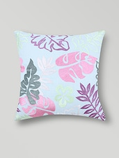 Set Of 2 Sky Blue Embroidered Cotton Cushion Covers - By