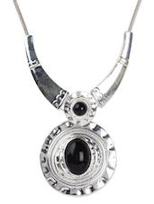 Black Bead Pendant Silver Tone Necklace - Blinglane