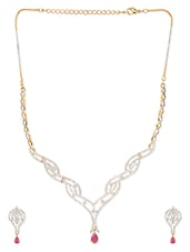 Gold Plated Red Stone Necklace Set - Blinglane