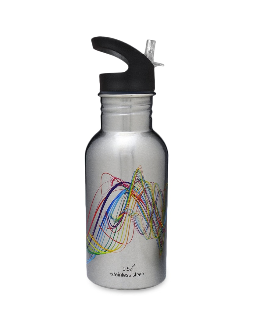 Silver Stainless Steel 500 Ml Bottle With Sippy Cap - By