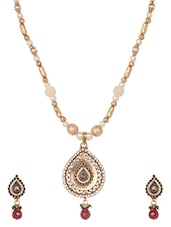 Gold Plated Teardrop  Necklace Set - Blinglane