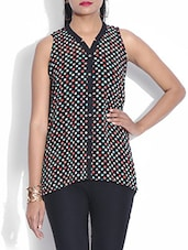 Black Polka Dotted Georgette Shirt - By