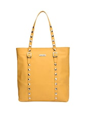Mustard Leatherette Handbag With Pouch - By