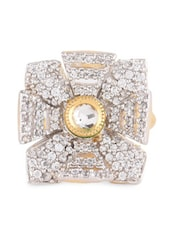 Cubic Zirconia Studded Gold Ring - Blinglane