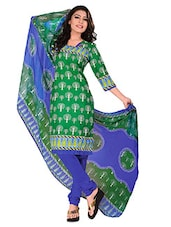 Green Cotton Printed Unstitched Suit Set - By