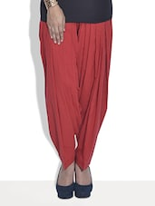 Solid Red Cotton Patiala Salwar - By