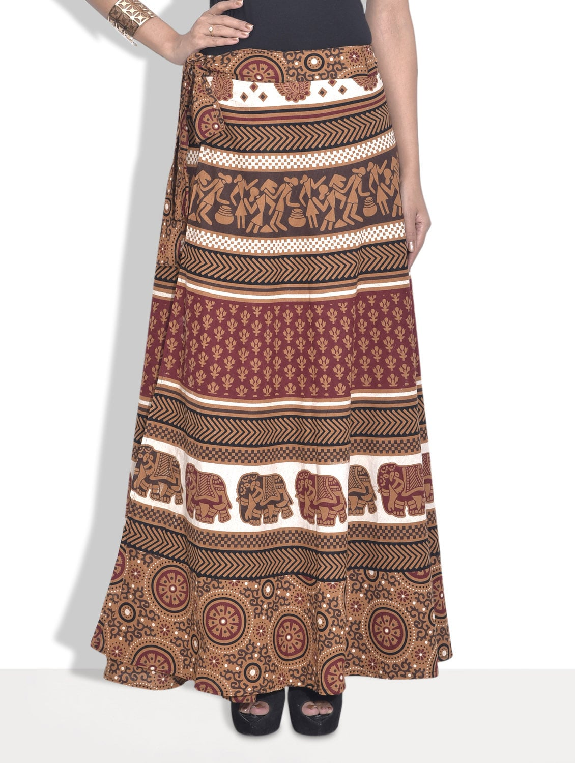 Brown Printed Cotton Ethnic Skirt - By