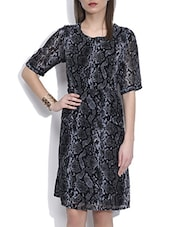 Black Printed Half Sleeved Dress - By