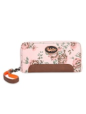 Light Pink Floral Printed Zippered Wallet - By