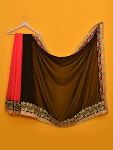 Divyanka Tripathi Super Black And Peach Designer Saree - Vamika