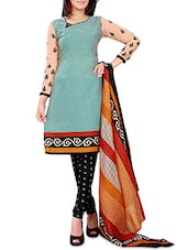 Green Poly Cotton Printed Suit Set - By