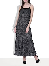 Black Rayon Printed Maxi Dress - By